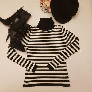 Loulou Black & White Turtle Neck Sweater